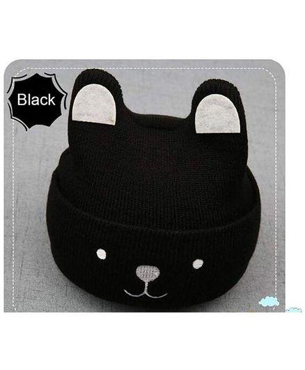 Syga Woollen Cap 3D Animal Design - Black