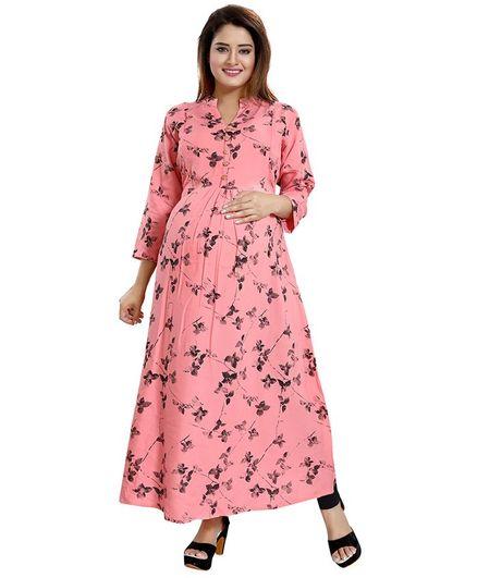 Mamma's Maternity All Over Leaves Printed Full Sleeves Nursing Kurta - Light Pink