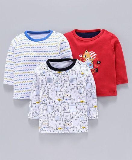 Kidi Wav Pack Of 3 Bear & Cartoon Printed Full Sleeves Tee - Red & White