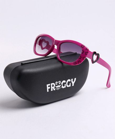 FROGGY Stars Printed UV Protected Sunglasses With Case - Pink