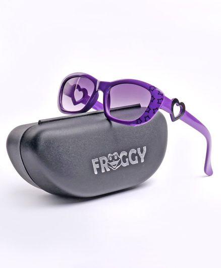 FROGGY Heart Cutout Detailing UV Protected Sunglasses - Purple