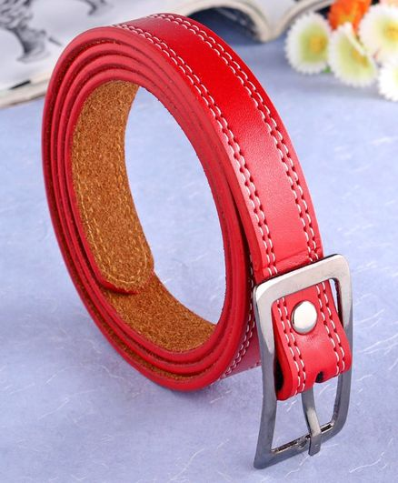 London Fashion Buckle Closure Belt - Red