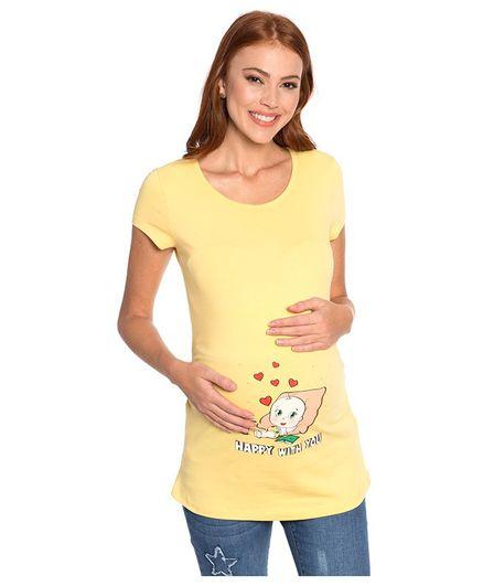 LC Waikiki Half Sleeves Baby Printed Maternity Tee - Yellow