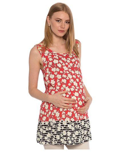 LC Waikiki Flower Printed Sleeveless Maternity Tunic - Red
