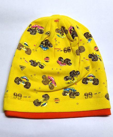 Kid-O-World Car Print Beanie - Yellow