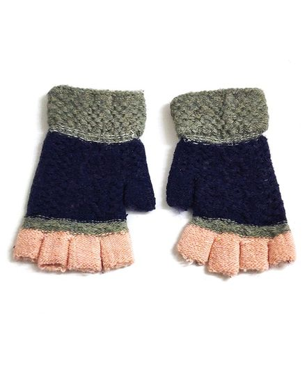 Kid-O-World Contrast Knitted Gloves - Blue