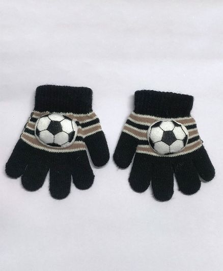 Kid-O-World Gloves With Football Applique - Black