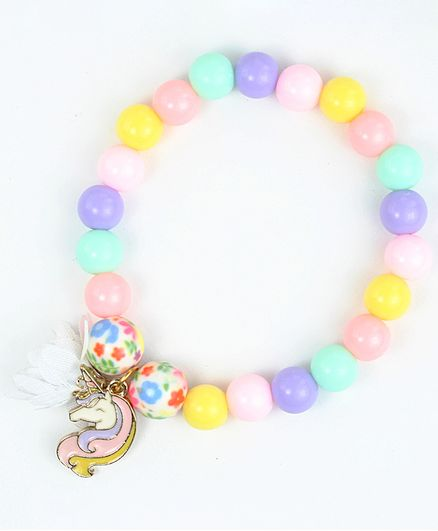 Asthetika Unicorn Charm Colourful Beaded Bracelet - Multi Colour