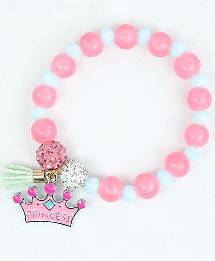 Asthetika Princess Crown Charm Beaded Bracelet - Pink