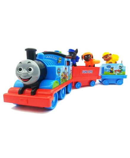 Emob Friction Powered City Train Toy with Puppy Figures - Multicolour