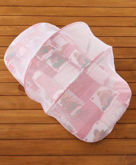 Babyhug Teddy Print Baby Jumbo Bedding Set With Mosquito Net - Red