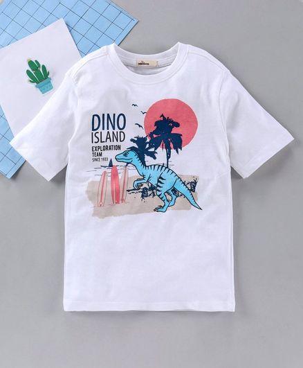 Adams Kids Dinosaur Print Half Sleeves T-Shirt - White