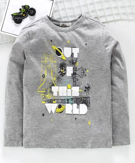 Adams Kids Rocket Print Full Sleeves T-Shirt - Grey