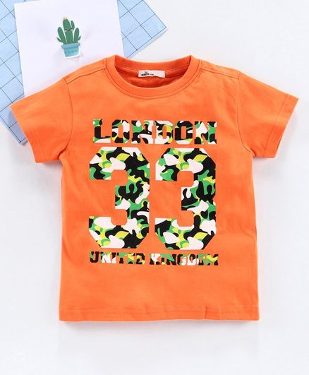 Adams Kids Number Print Short Sleeves T-Shirt - Orange