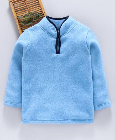 Hugsntugs Solid Full Sleeves Winter Tee - Light Blue