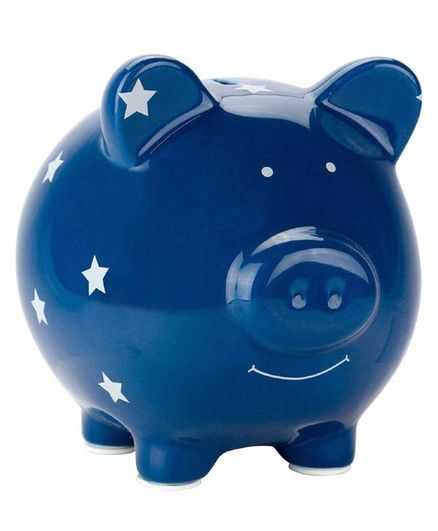 Pearhead Ceramic Piggy Bank Polka Dot - Blue