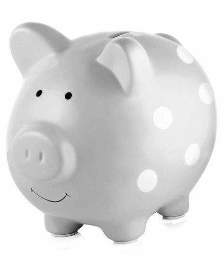 Pearhead Ceramic Piggy Bank Polka Dots - Grey