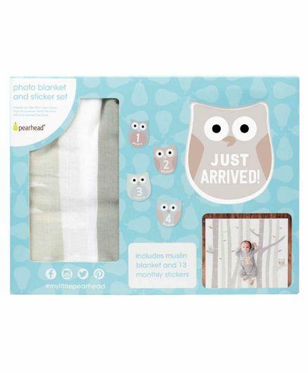 Pearhead Watch Me Grow Muslin Photo Blanket & Sticker Set Owl - Grey & Brown