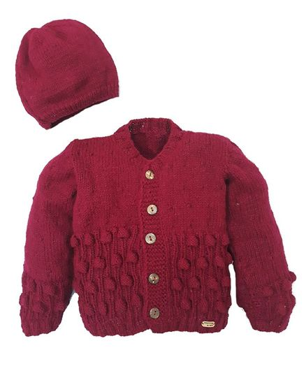 Knitting By Love Cable Design Full Sleeves Hand Knit Sweater With Cap - Maroon