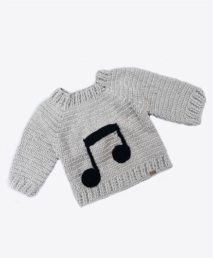 Knitting By Love Music Icon Hand Made Full Sleeves Sweater - Grey
