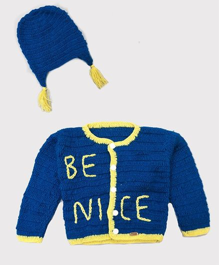 Knitting By Love Full Sleeves Be Nice Pattern Sweater With Cap - Blue