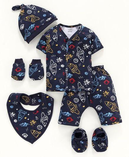 Cucumber Half Sleeves Night Suit Clothing Set Space Print - Navy