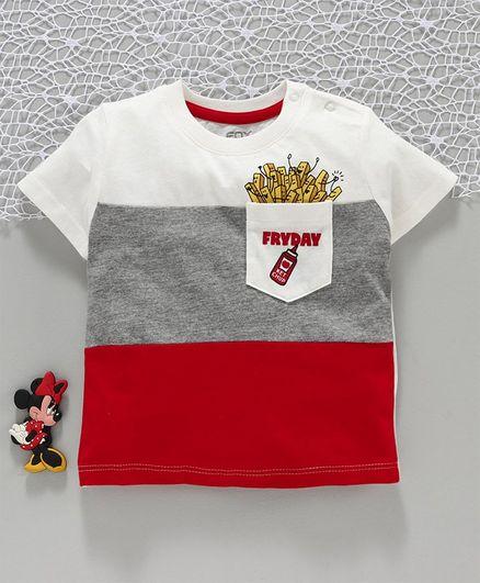 Fox Baby Half Sleeves Tee Fryday Pocket Print - Red