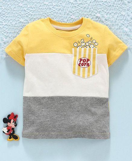 Fox Baby Half Sleeves Tee Pop Corn Pocket Print - Yellow