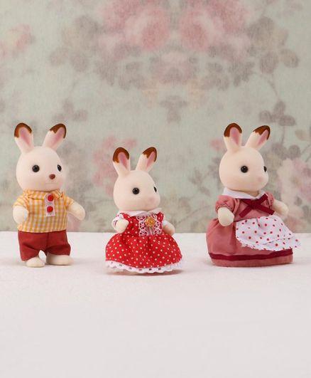 Sylvanian Families Chocolate Rabbit Family Cream Set of 3- Height 4.5 cm