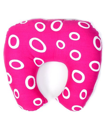 Babyhug Baby Pillow with Neck Support Circle Print - Pink