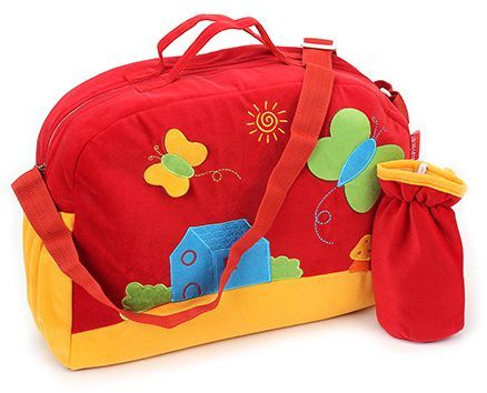 Sapphire Diaper Bag With Bottle Cover Butterfly Patch -  Red Yellow