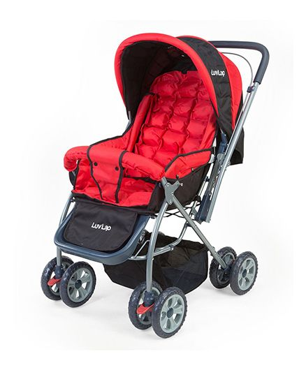 Luv Lap StarShine Stroller Cum Pram Red And Black - 18135