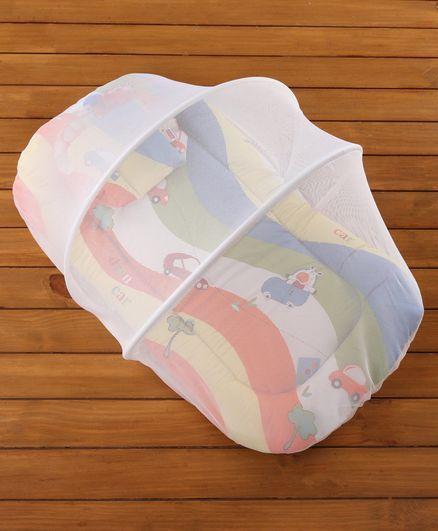 Babyhug Premium Gadda Set With Mosquito Net Orange - Mini Cars Print