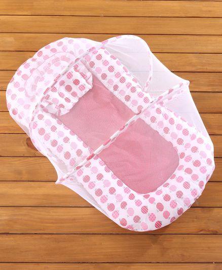Babyhug Cherry Print Gadda Set With Mosquito Net - Red
