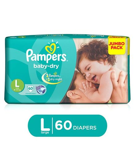 Pampers Baby Dry L Diapers (60 Pieces)