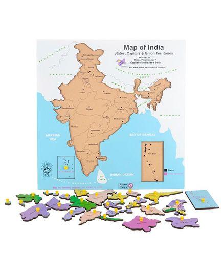 Skillofun Wooden Map Of India Multicolour Online India, Buy Puzzle ...