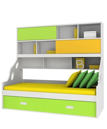 Alex Daisy Wooden Bunk Bed Hybrid - Yellow And Green