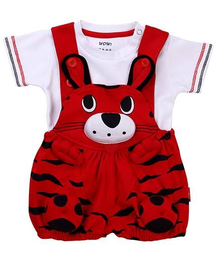 b958bb772 Buy Wow Dungaree With Half Sleeves TShirt Kitty Face Red for Boys ...