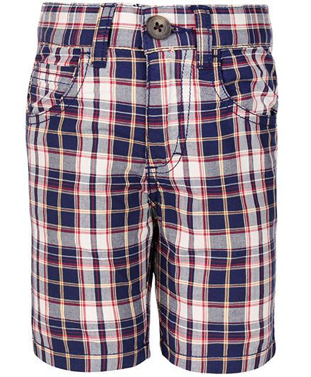 United Colors of Benetton Bermuda Shorts Check Pattern - Navy Blue