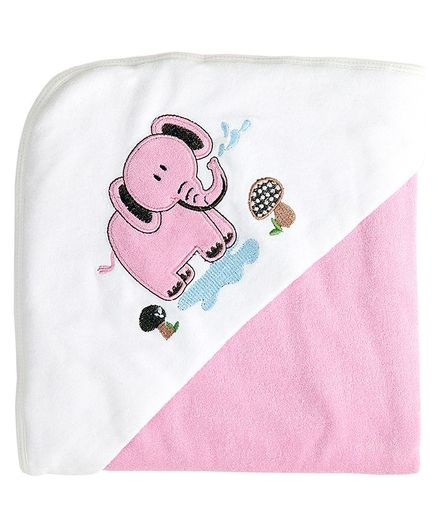 My Milestones Premium Hooded Towel Elephant Embroidery Solid Pattern - Pink