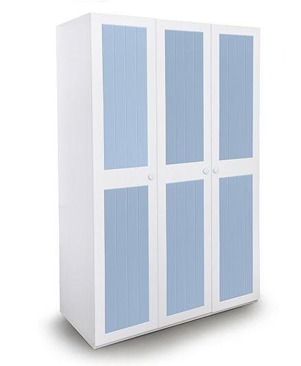 Alex Daisy Wooden Three Door Wardrobe French - Blue