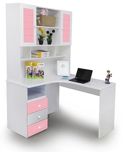 Alex Daisy Wooden Corner Study Table French - Pink And White
