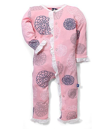 Kickee Pants Ruffle Coverall Floral Print - Pink