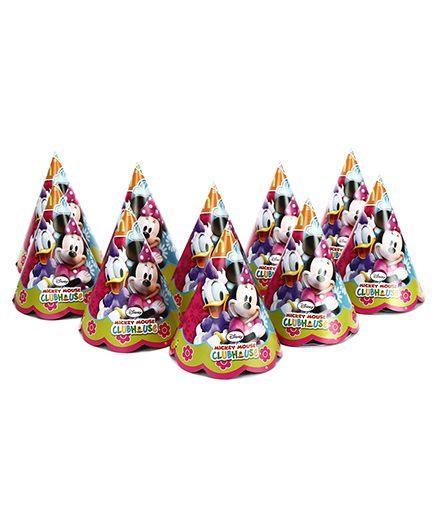 Disney Minnie Mouse Club House Paper Cap pack Of 10 - Multi Color