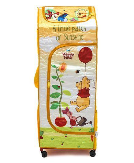 Winnie the Pooh Kids Portable Wardrobe With Wheels - Yellow
