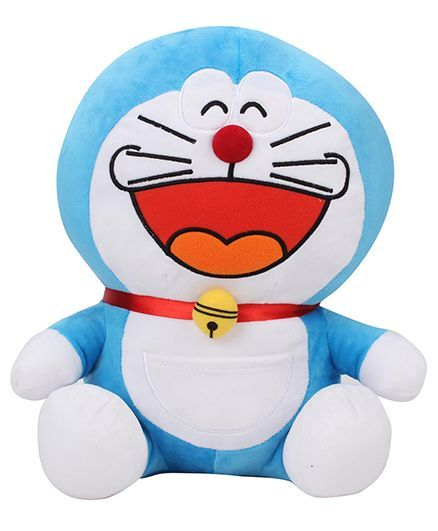 Doremon Laughing Soft Toy Blue White - Height 30 cm