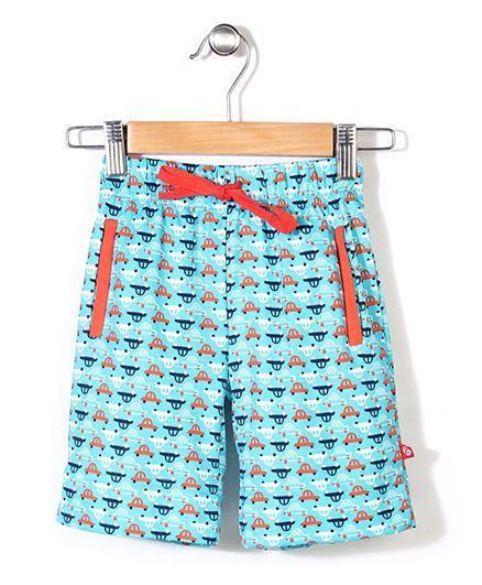 Zutano Car Printed Shorts - Aqua