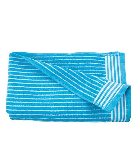 Sassoon Amber Stripe Cotton Terry Bath Towel - Aqua Blue