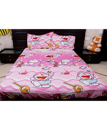 Doraemon Polyester Double Bed Sheet Mandolin Print - Pink