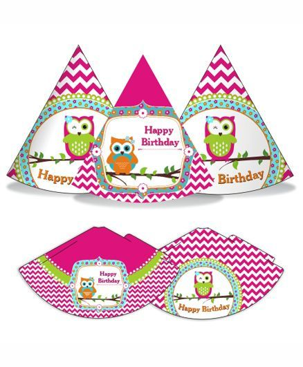 Prettyurparty Girly Owl Party Hats- Pink